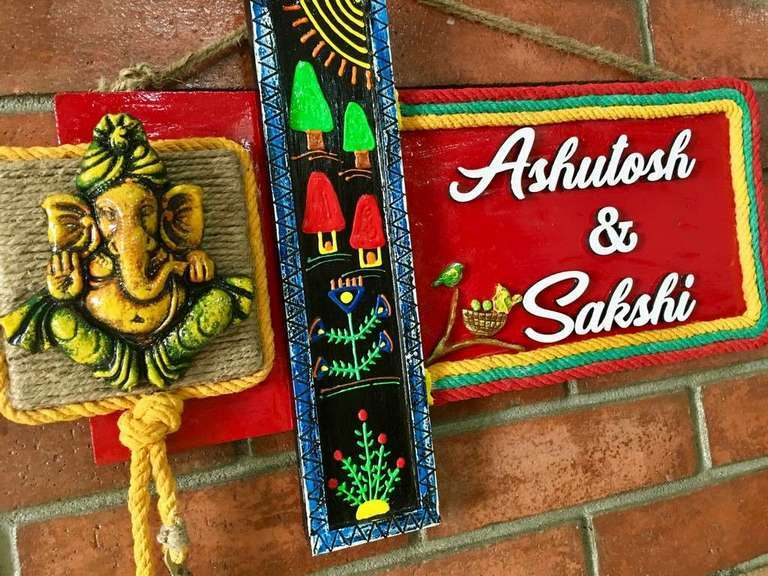 Village Theme Wooden Name Plate  wooden name plates house office door wall flat bungalow plaques hand made hitchki dot in personalized gifts 0081