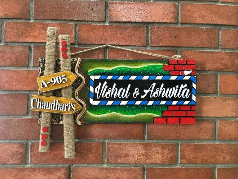 wooden name plate designs house office door wall flat bungalow plaques hand made hitchki dot in personalized gifts 0086