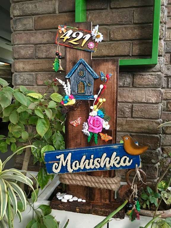 Mountain Hut Wooden Name plate  wooden name plates house office door wall flat bungalow plaques hand made hitchki dot in personalized gifts 0089