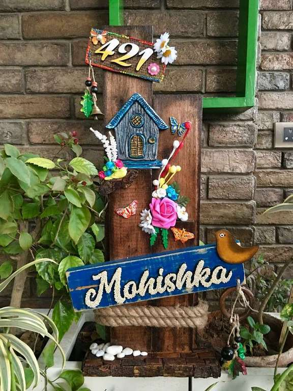 Mountain Hut Wooden Name plate  wooden name plates house office door wall flat bungalow plaques hand made hitchki dot in personalized gifts 0090