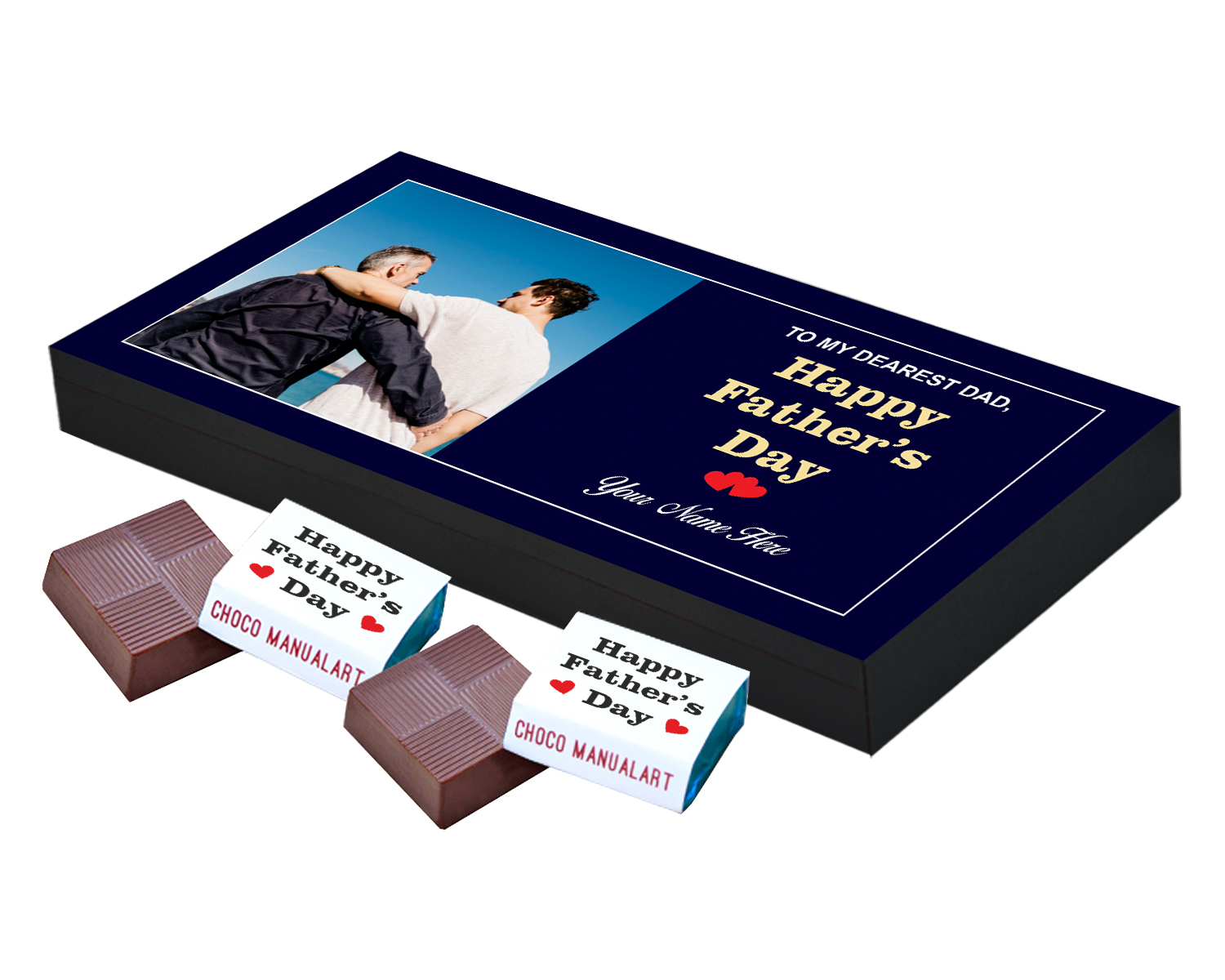 Personalized Fathers Day Chocolates Box with Photograph Name and Message 18 Pcs  Best Customized Happy Fathers Day Chocolates Box