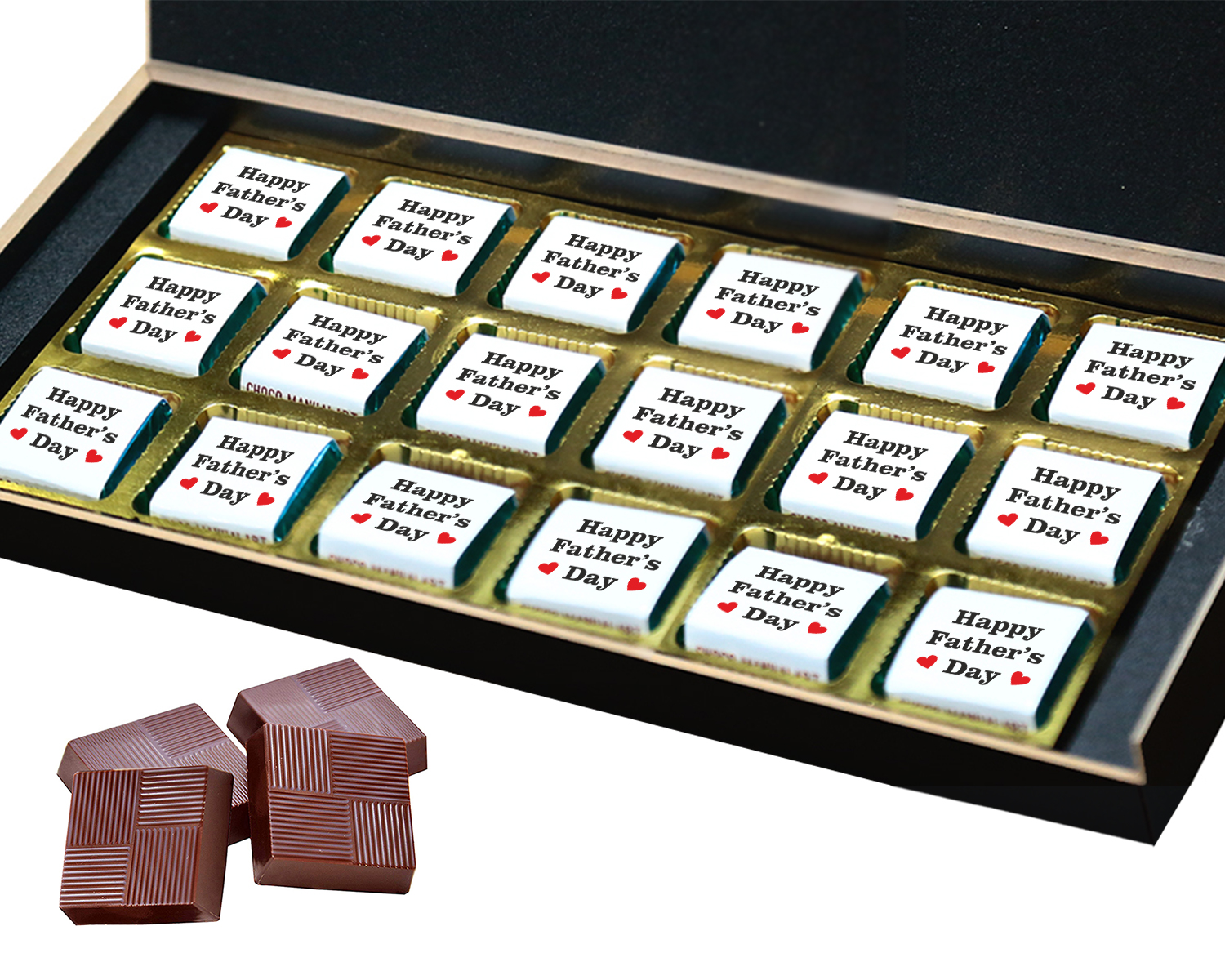 Personalized Fathers Day Chocolates Box with Photograph Name and Message 18 Pcs  3 Fathers 18B
