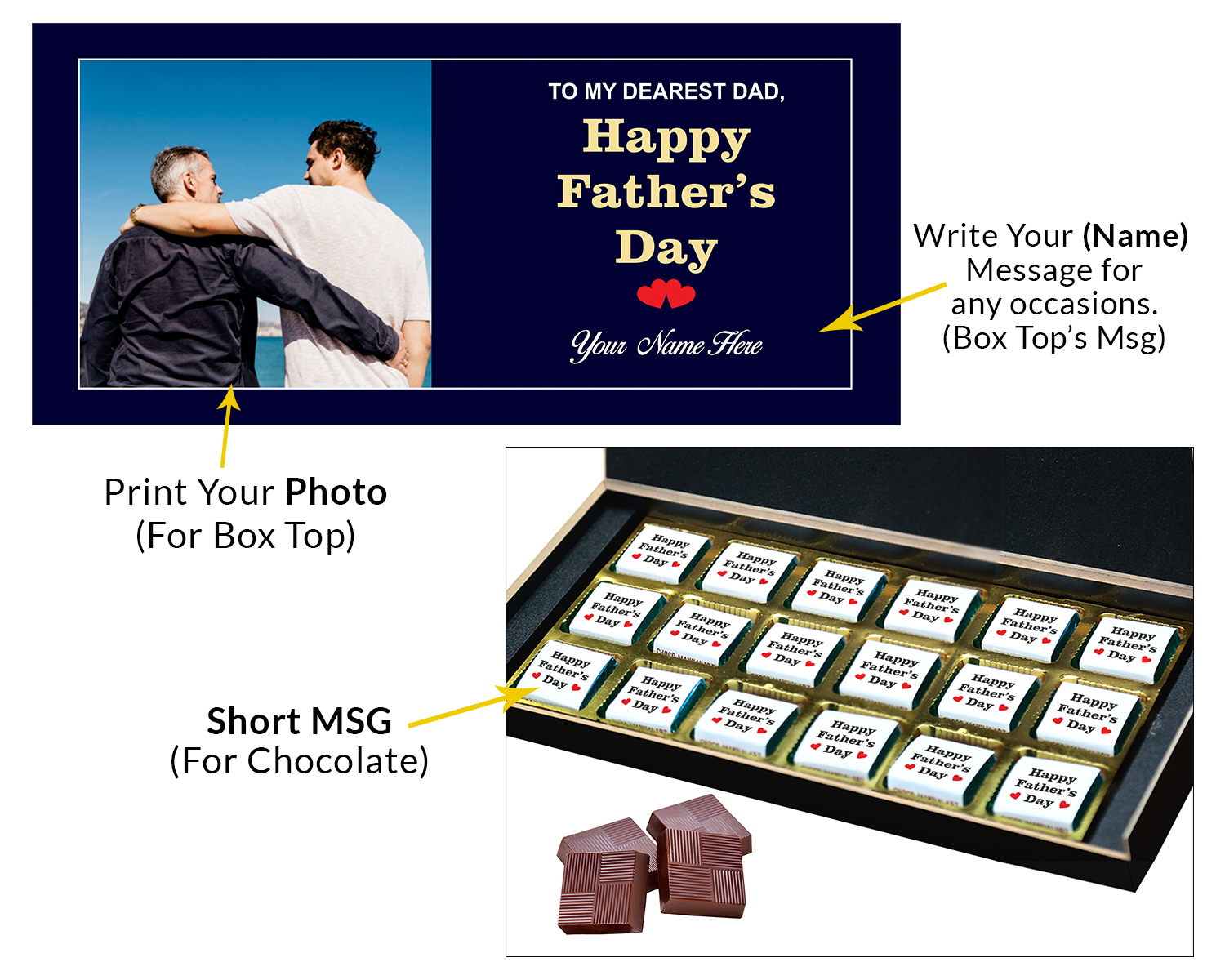 Personalized Fathers Day Chocolates Box with Photograph Name and Message 18 Pcs  3 Fathers 18C