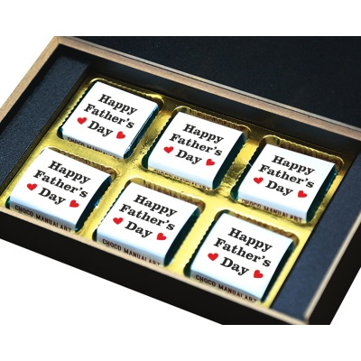 Personalized Fathers Day Chocolates Box with Photograph Name and Message  6 Pcs  3 Fathers 6B