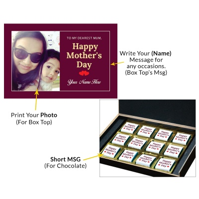 Personalized Mothers Day with Photograph Name and Message chocolate box  12 Pcs  3 Mothes 12C