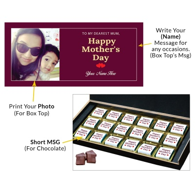 Personalized Mothers Day with Photograph Name and Message chocolate box  18 Pcs  3 Mothes 18C