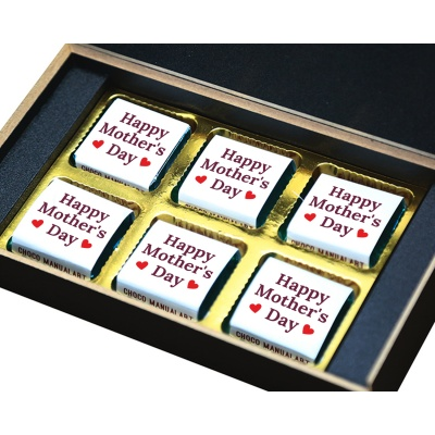 Personalized Mothers Day with Photograph Name and Message chocolate box  6 Pcs  3 Mothes 6B