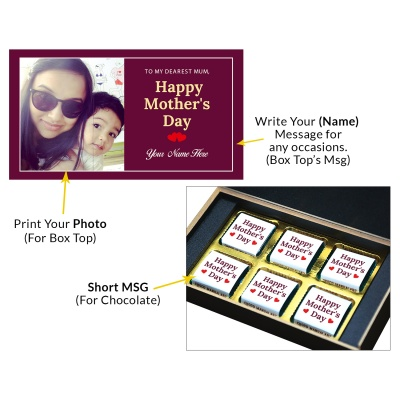 Personalized Mothers Day with Photograph Name and Message chocolate box  6 Pcs  3 Mothes 6C
