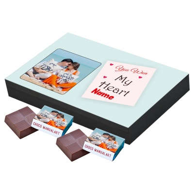 Valentine Day Chocolate Gift with Photo and Name 12 Pcs  Valentine Day Chocolate Gift with Photo and Name