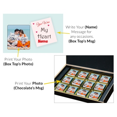 Valentine Day Chocolate Gift with Photo and Name 12 Pcs  3 VTDAY 12C