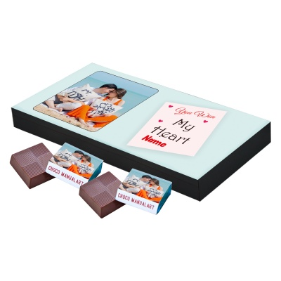Valentine Day Chocolate Gift with Photo and Name 18 Pcs  Valentine Day Chocolate Gift with Photo and Name