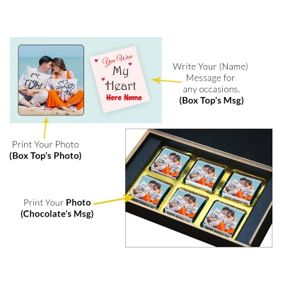 Valentine Day Chocolate Gift with Photo and Name 6 Pcs  3 VTDAY 6C