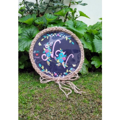 Hand Embroidered Couple Initial Hoop