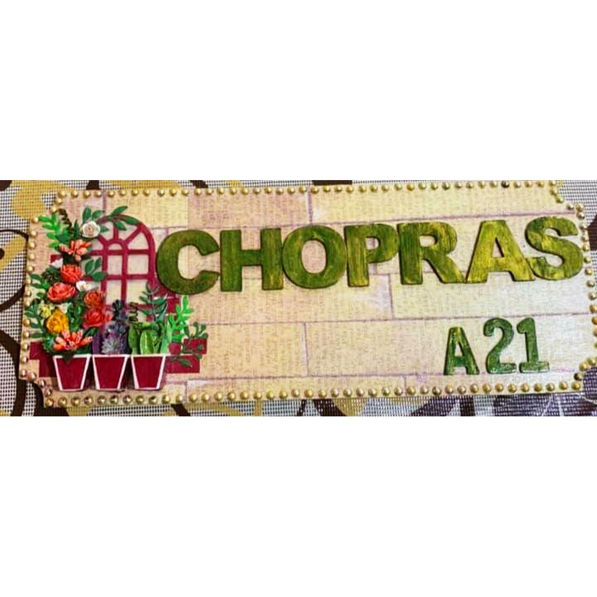 3d Arch window Name Plate with flower pots  3d Arch window Name Plate with flower pots