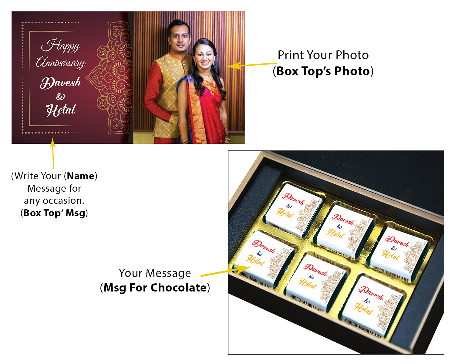 Anniversary Gift for Wife with her Name and Photo  6pcs  4 Anniversary 6C