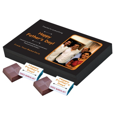 Personalized Fathers Day Chocolates Box with Photograph Name and Message 12 Pcs  Happy Fathers Day Personalized Chocolate Box Gift