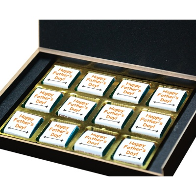 Personalized Fathers Day Chocolates Box with Photograph Name and Message 12 Pcs  4 Fathers 12B