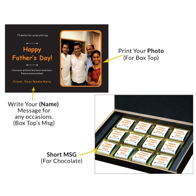 Personalized Fathers Day Chocolates Box with Photograph Name and Message 12 Pcs  4 Fathers 12C