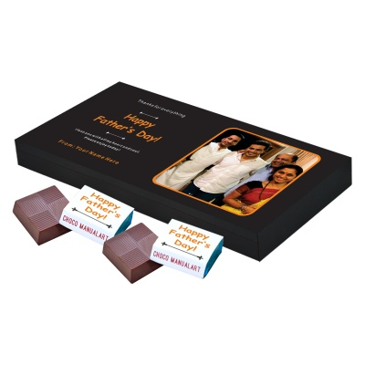 Personalized Fathers Day Chocolates Box with Photograph Name and Message 18 Pcs  Personalized Fathers Day Chocolate Box of Gift