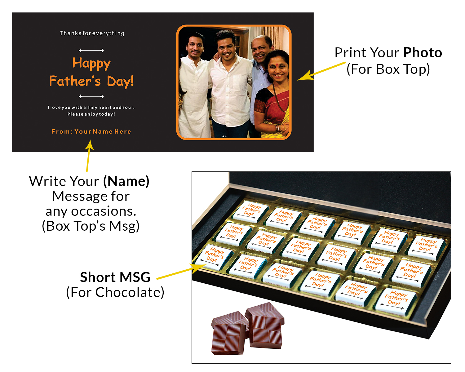 Personalized Fathers Day Chocolates Box with Photograph Name and Message 18 Pcs  4 Fathers 18C