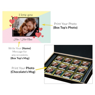 Love Gifts with Photo and Message Name Chocolate Box 12 Pcs  4 VTDAY 12C