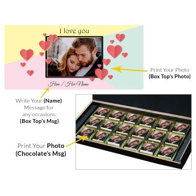 Love Gifts with Photo and Message Name Chocolate Box 18 Pcs  4 VTDAY 18C