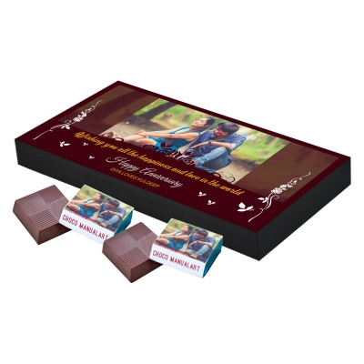 Anniversary Gift with Photo Message and Name Print on Them  18pcs  Customized Chocolate Anniversary Gift for Couples
