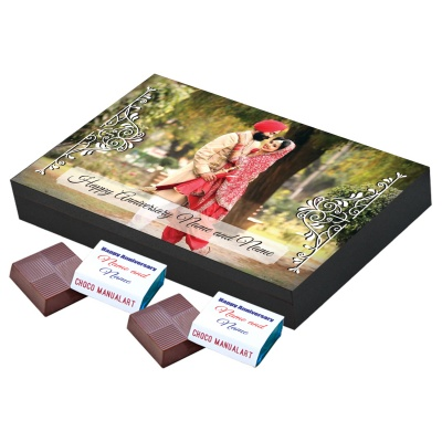 Anniversary Theme with Photo and Message Gift 12 Pcs  Printed Chocolate Gifts for Wedding Anniversary