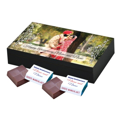 Anniversary Theme with Photo and Message Gift 6 Pcs  Printed Chocolate Gifts for Wedding Anniversary