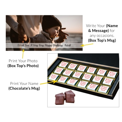 Chocolates with Name Photo and Message 18 Pcs  6 Birthday Gift 18C