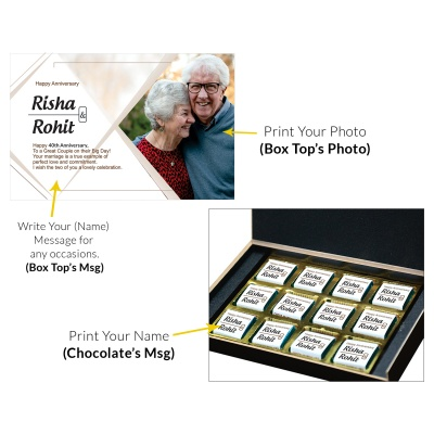 Personalised Wooden Chocolate Box With Photo 12 Pcs  7 Anniversary 12C