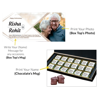 Personalised Wooden Chocolate Box With Photo 18 Pcs  7 Anniversary 18C