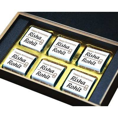 Personalised Wooden Chocolate Box With Photo 6 Pcs  7 Anniversary 6B