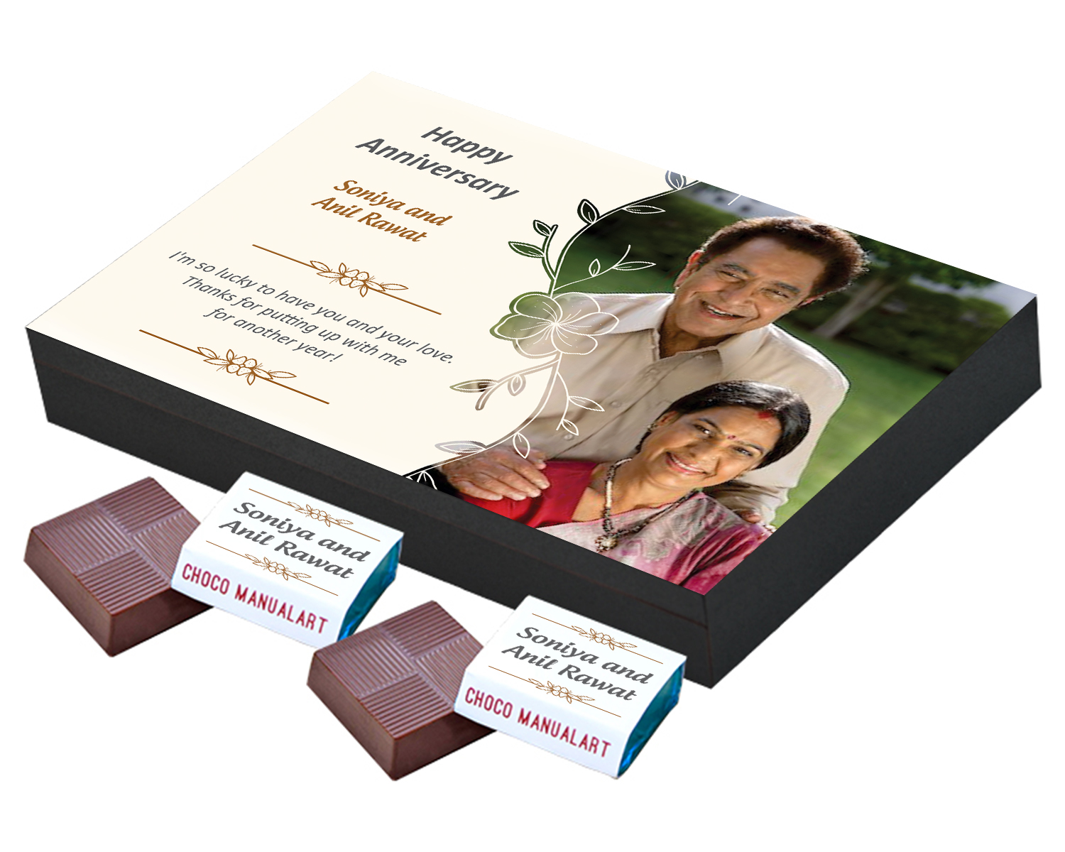 Customised Chocolate Box with Photo and Message  12pcs  Personalized Customized Chocolate Box with Photo