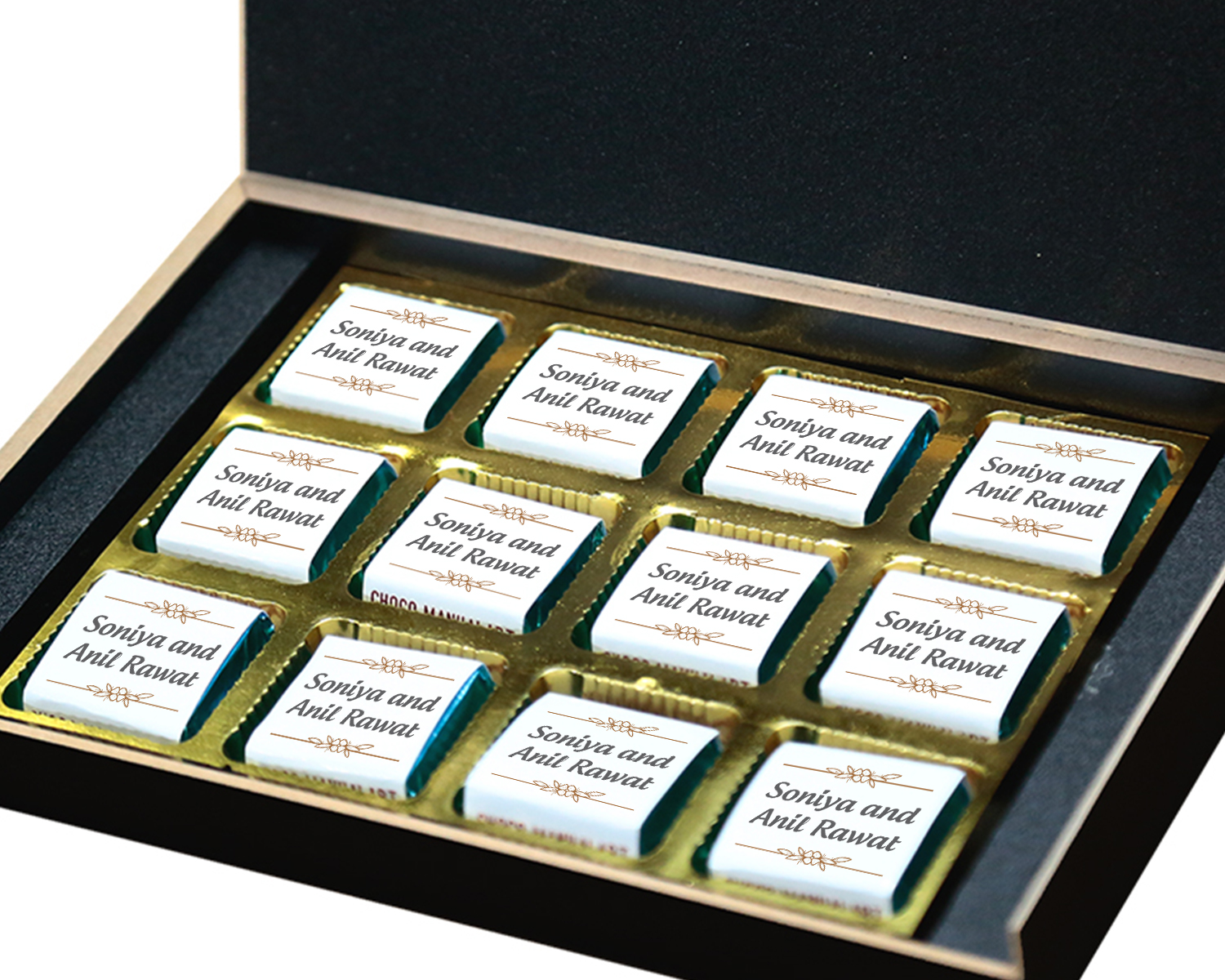 Customised Chocolate Box with Photo and Message  12pcs  8 Anniversary 12B