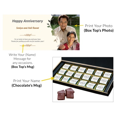 Customised Chocolate Box with Photo and Message  18pcs  8 Anniversary 18C