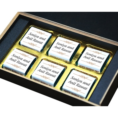 Customised Chocolate Box with Photo and Message  6pcs  8 Anniversary 6B