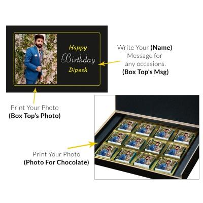 Printed Photo On Chocolate Gift and Box 12 Pcs  8 Birthday Gift 12C