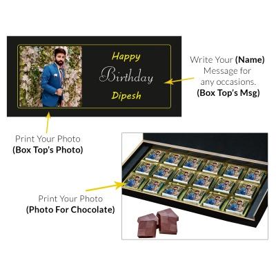 Printed Photo on Chocolate Gift Box 18 Pcs  8 Birthday Gift 18C
