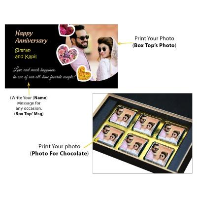 Personalised Anniversary Chocolate Gift With Image  6pcs  9 Anniversary 6C