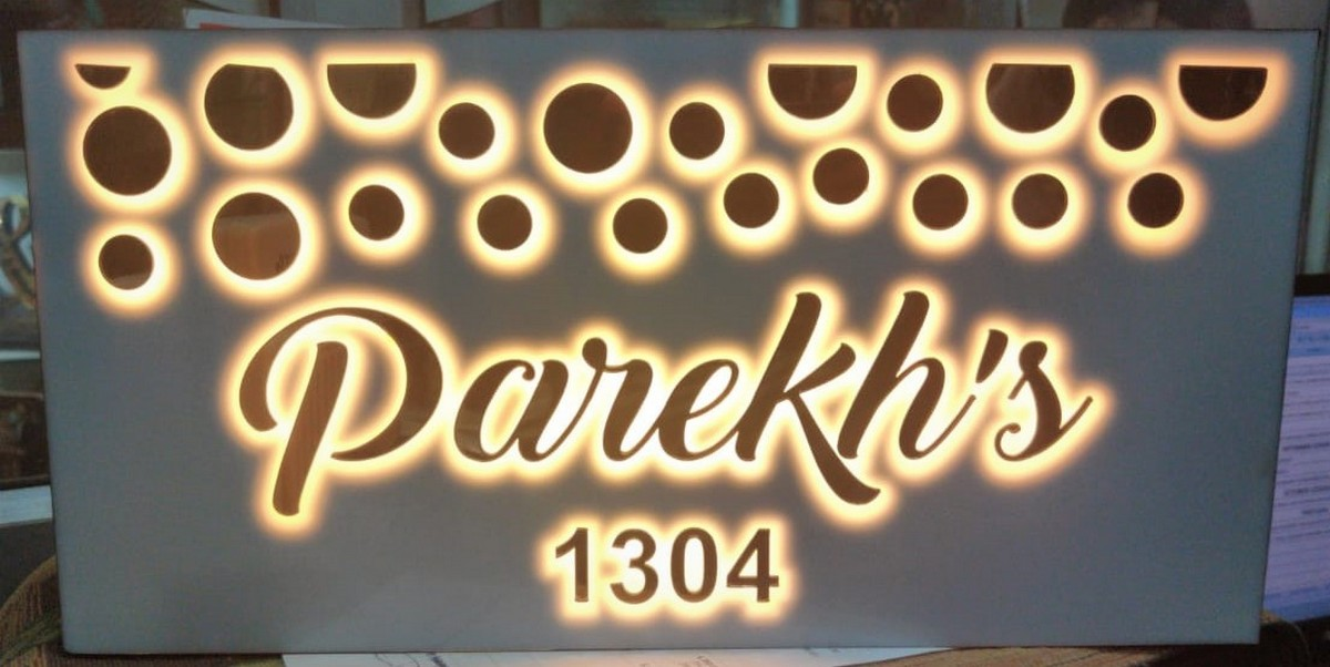 3D Embossed Letters Acrylic LaserCut LED House Name Plate  Design 11  Acrylic Laser Cut LED House Name Plate  1