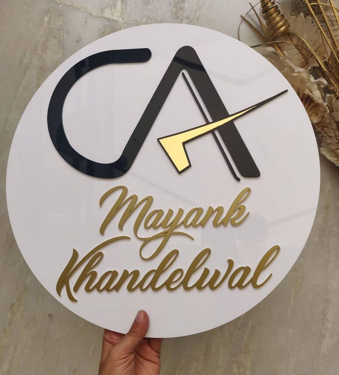 Customizable Acrylic Name Plate For Chartered Accountant  Acrylic Name Plate