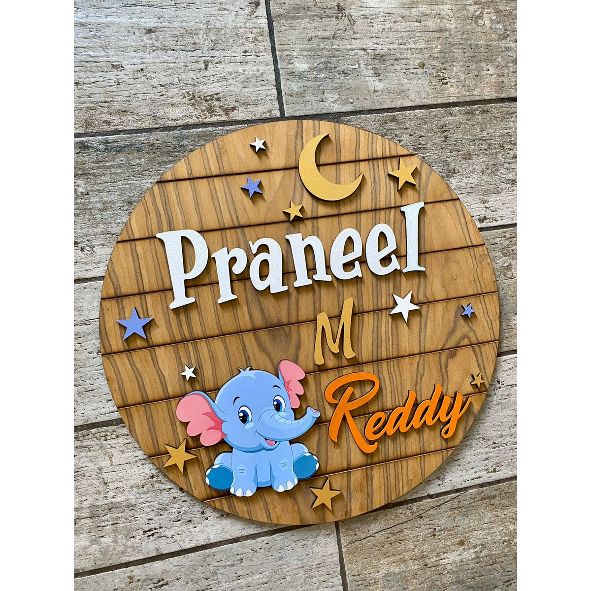 Baby Elephant Wooden Kids Nameplate 18 Inch
