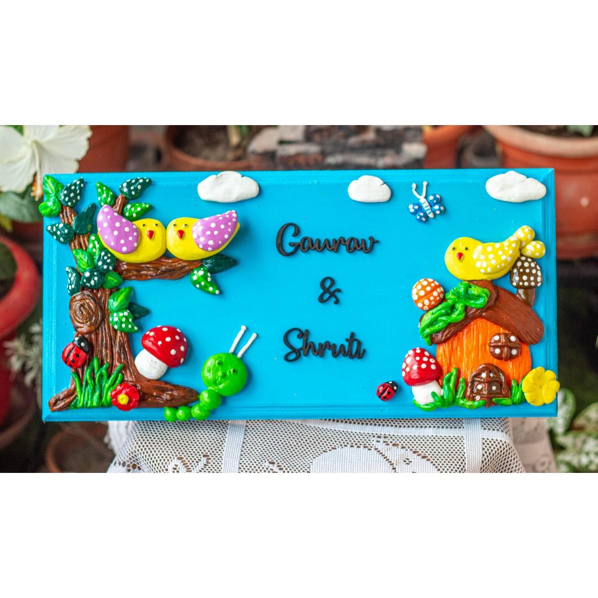 Beautiful Nature Themed Couple Nameplate