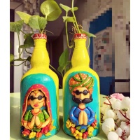 Handmade Customized Couple Nameplate for Home  Beautiful designer bottleart for home decoration