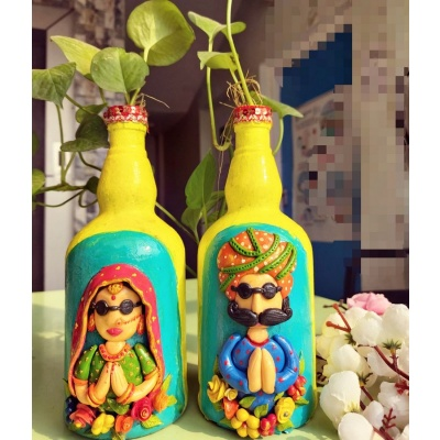 Beautiful Designer Bottle Art for Home Decoration  Beautiful designer bottleart for home decoration