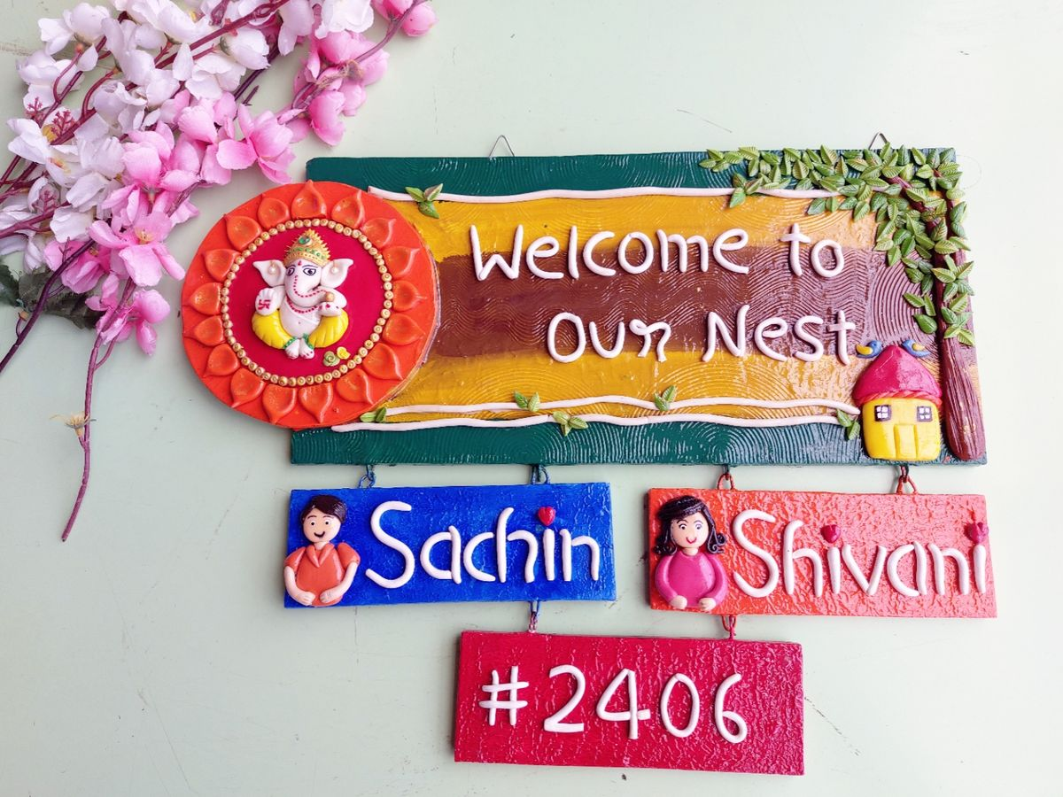 Colorful Customize Couple Nameplate for House  Colorful Customize couple nameplate for house