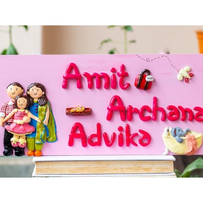Cute Family NamePlate for House  Creative Corner Hitchki Unique Wooden Artworks 0001 3 2