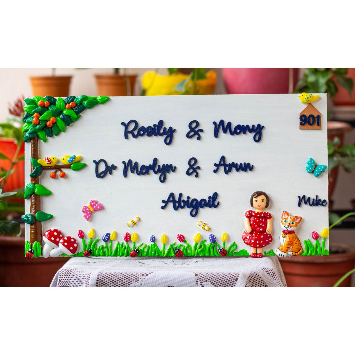Handcrafted Customized A girl And Cat Themed Family Nameplate  A girl And Cat Themed Family Nameplate
