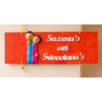 Customized colourful couple themed nameplate